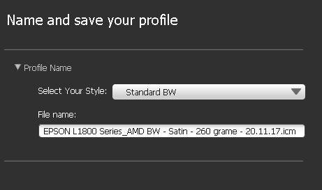 Stil profil BW - Standard