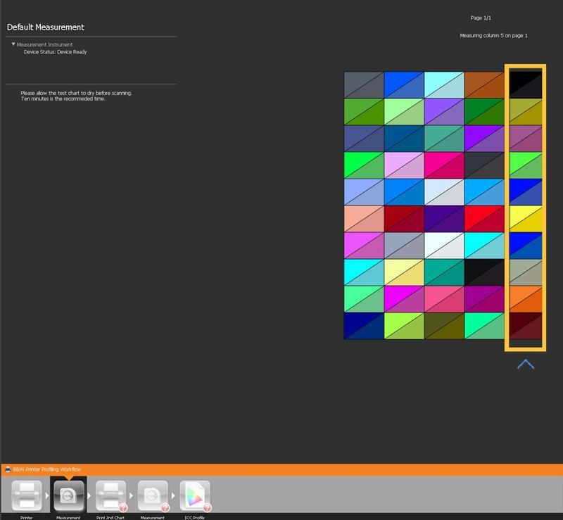 masurare culori primul chart BW
