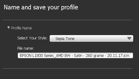 Stil profil BW - Sepia Tone