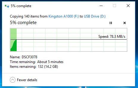 Kingston Canvas GO microSDXC transfer inceput