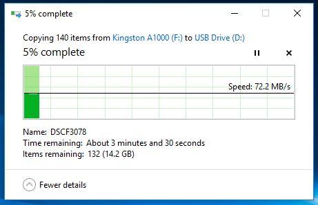Kingston Canvas React microSDXC transfer inceput