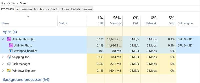 Affinity - Utiliz RAM - Import 100 Poze pentru edit fin