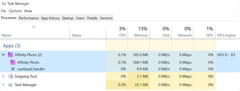 Affinity - Utiliz RAM idle